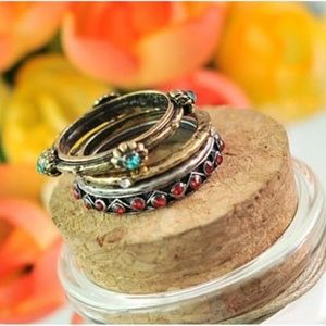 Jewelry - Vintage Gold Retro Silver Crystal Midi Rings NWT